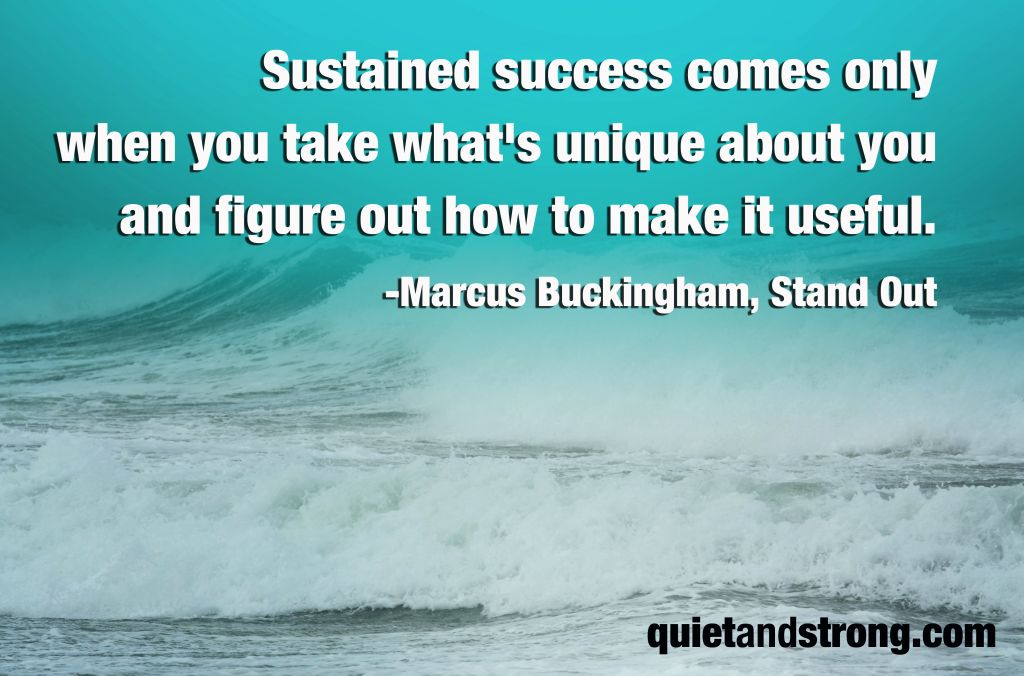 Sustained success comes only when you take what's unique about you and figure out how to make it useful. -Marcus Buckingham, Stand Out